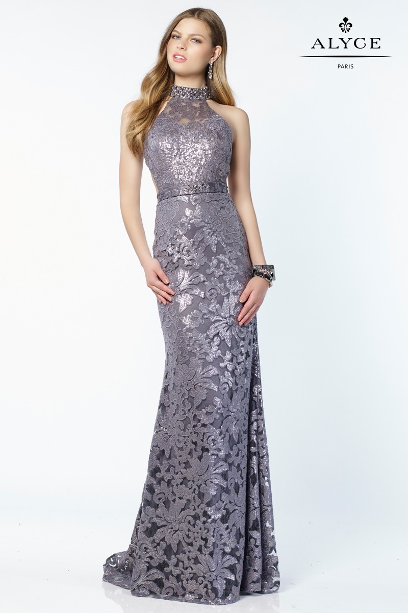 Alyce 6786 High Neck Charcoal Sequined Lace Dress