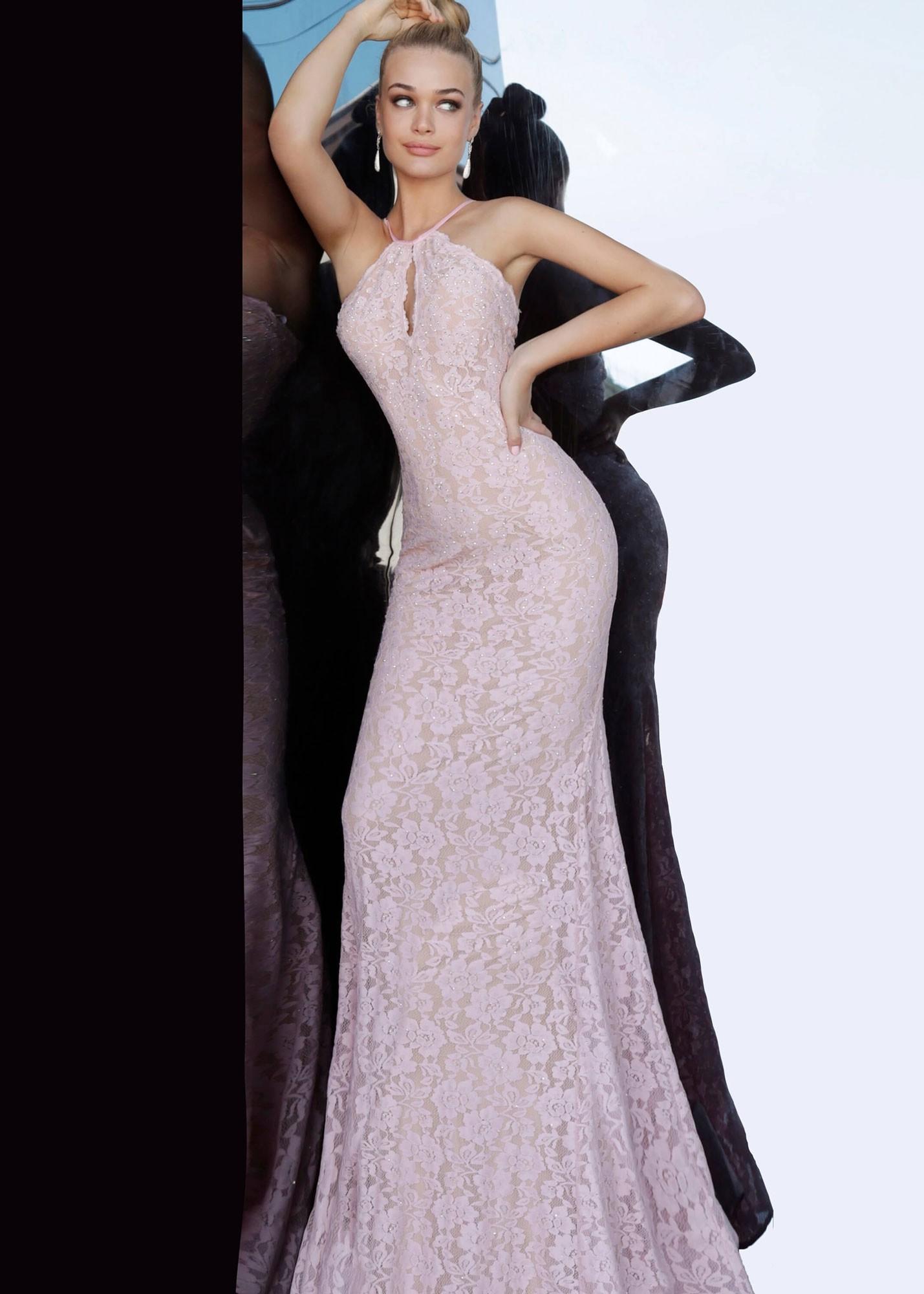 Jovani 68431 Light Pink Lace Prom Dress