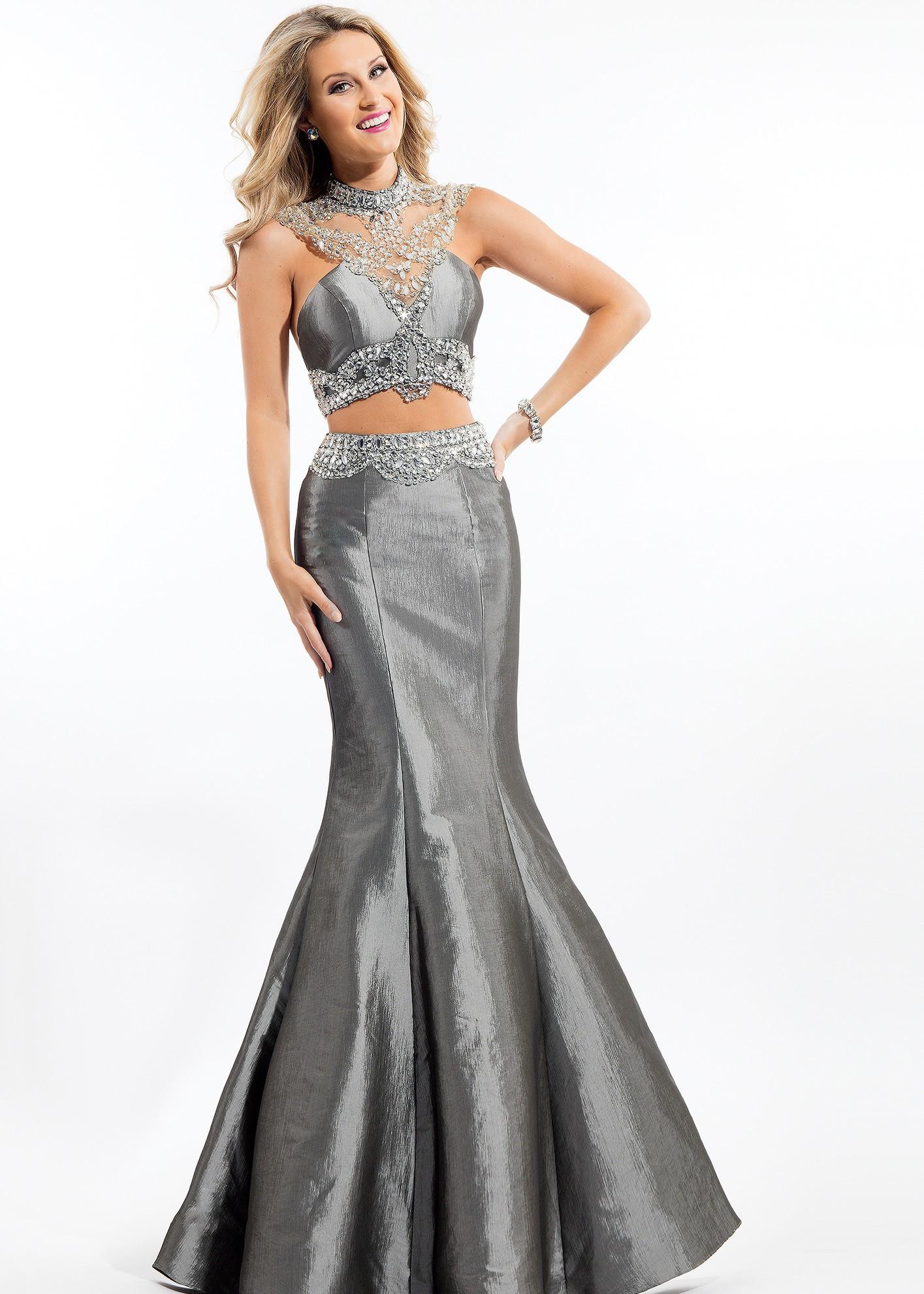 Rachel Allan 7145 Jeweled Two Piece Taffeta Gown