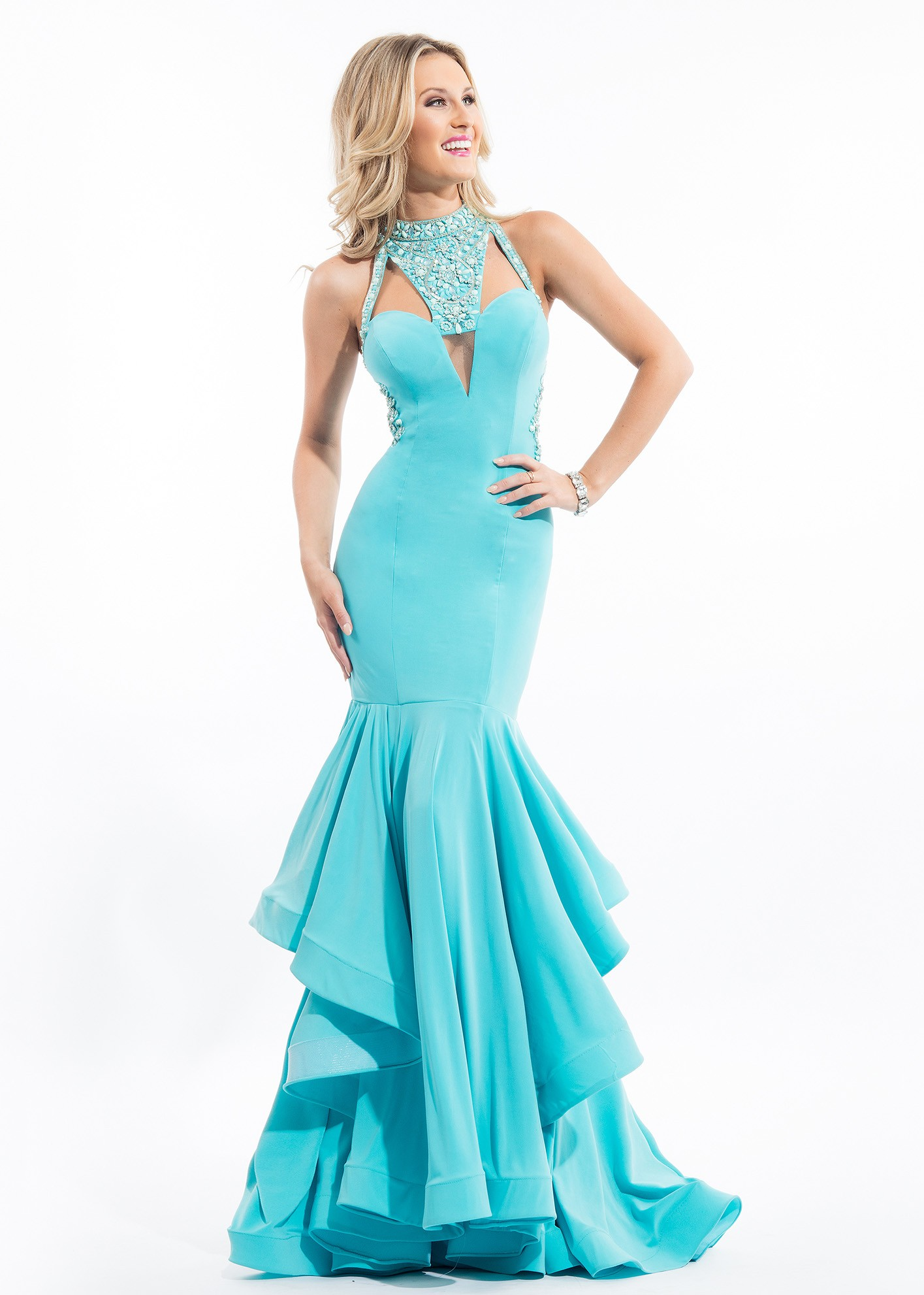 Rachel Allan 7151 Sexy Fitted Jersey Mermaid Gown