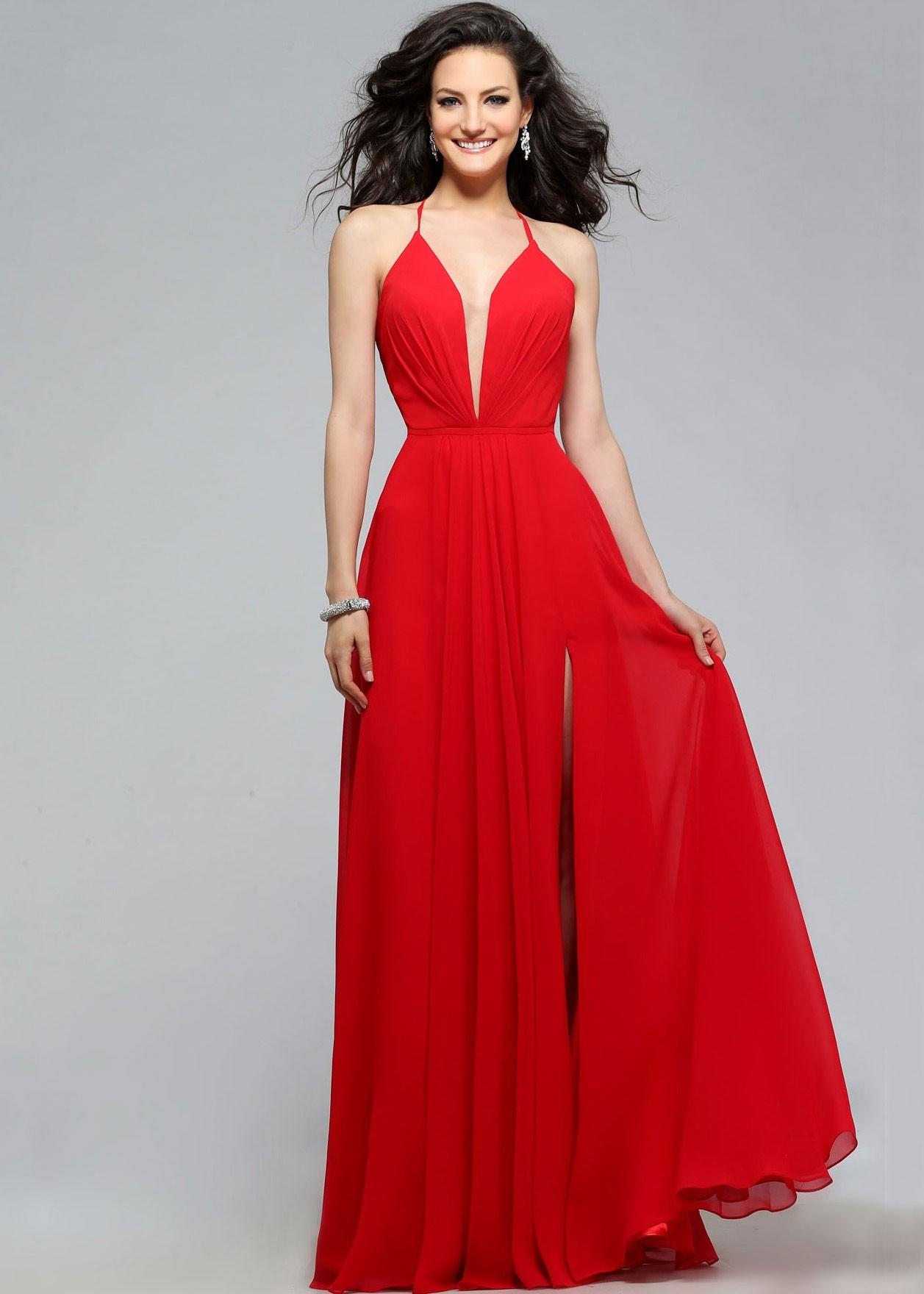 Faviana 7747 Deep V-Neck Chiffon Evening Gown