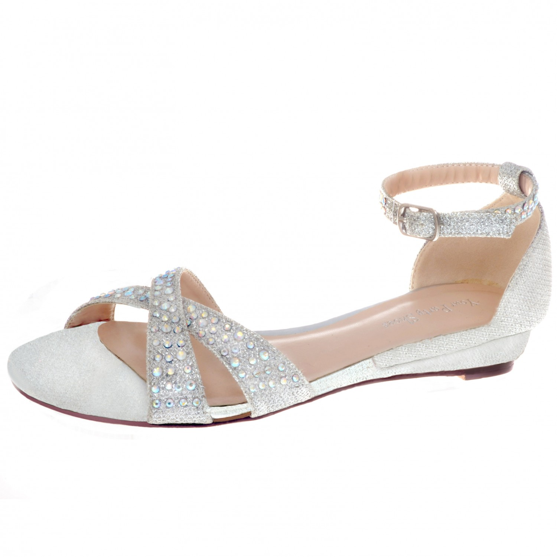 Jeweled Ankle Strap Flat Sandal