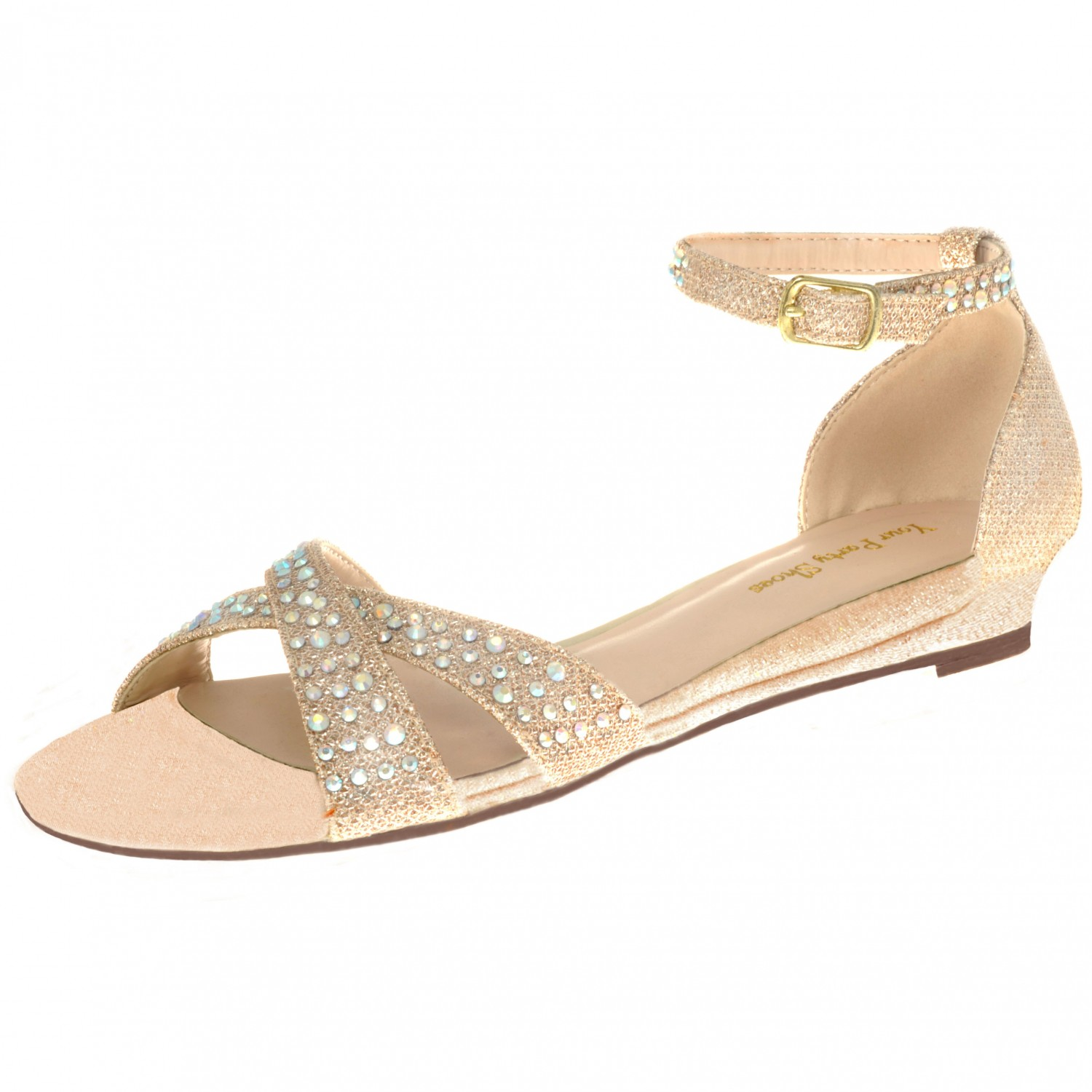Your Party Shoes Lilly Sparkly Jeweled Flat Sandal