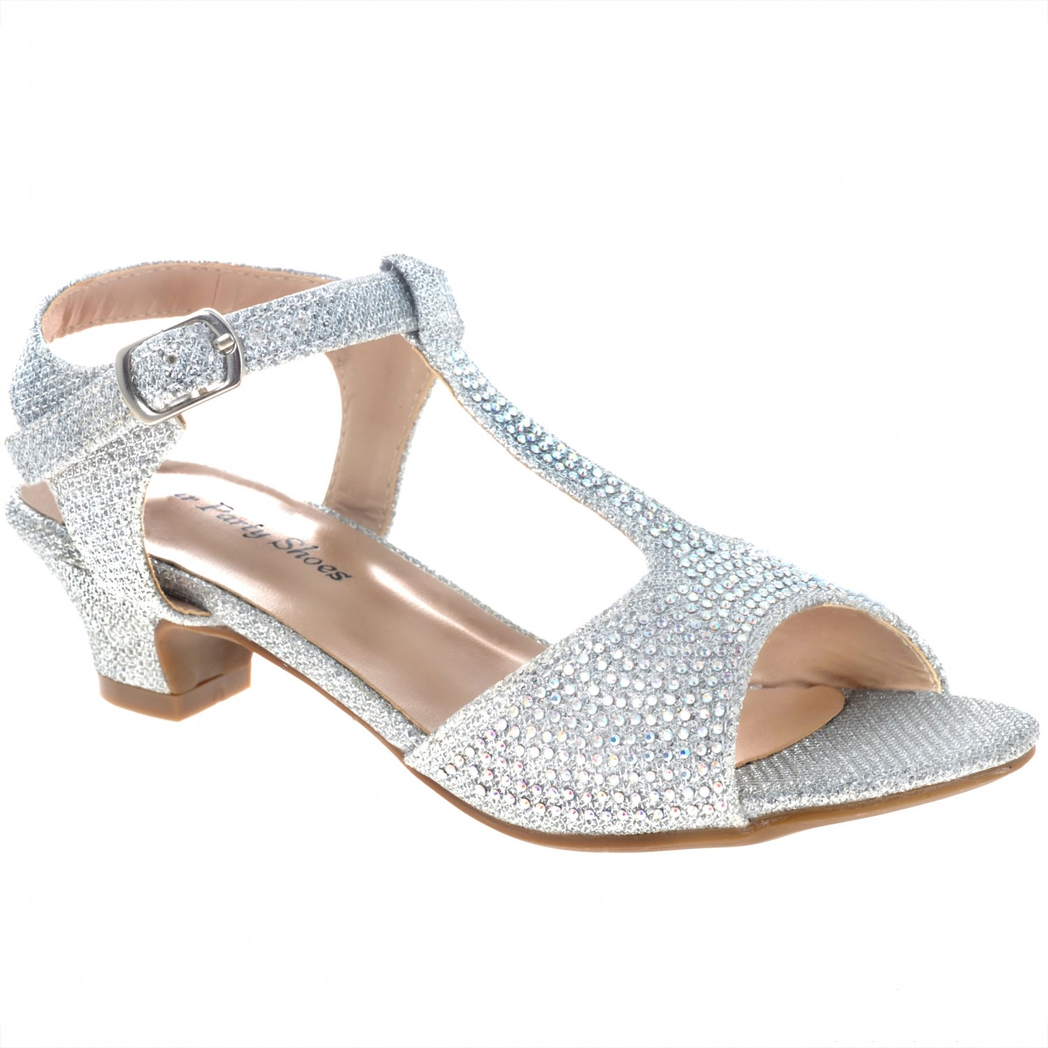 Your Party Shoes Holly Girls' T-Strap Jeweled Sandal