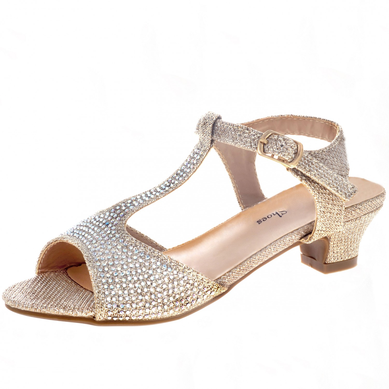 Jeweled Girls' T-Strap Evening Shoe