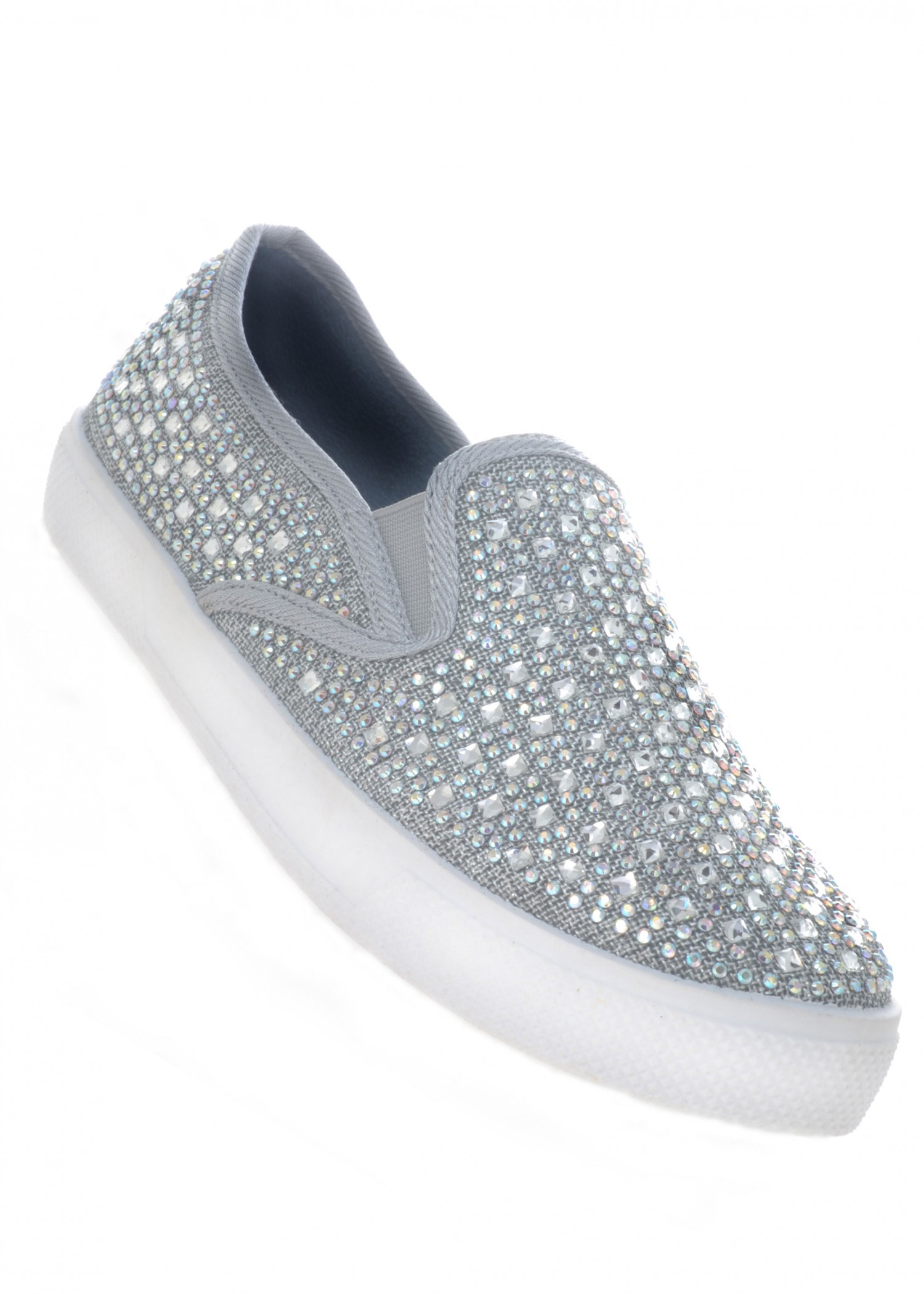 Your Party Shoes Peyton Crystal Beaded Slip On Sneakers