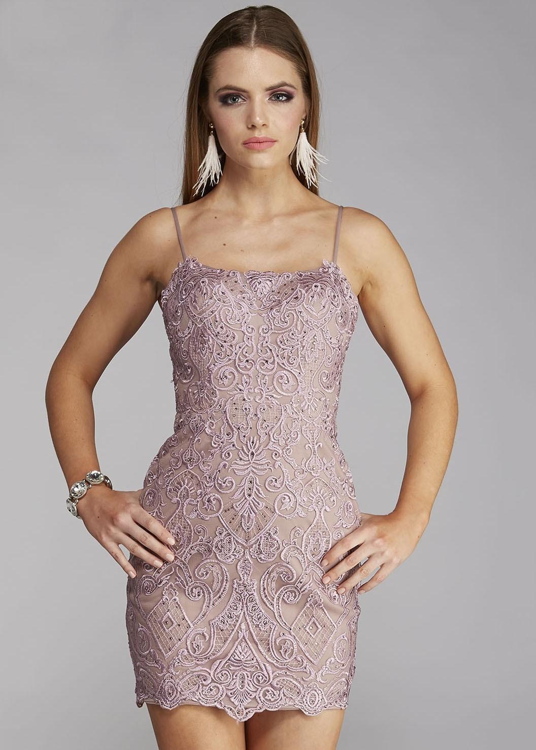 Love Stella 9021 Embroidered Short Dress
