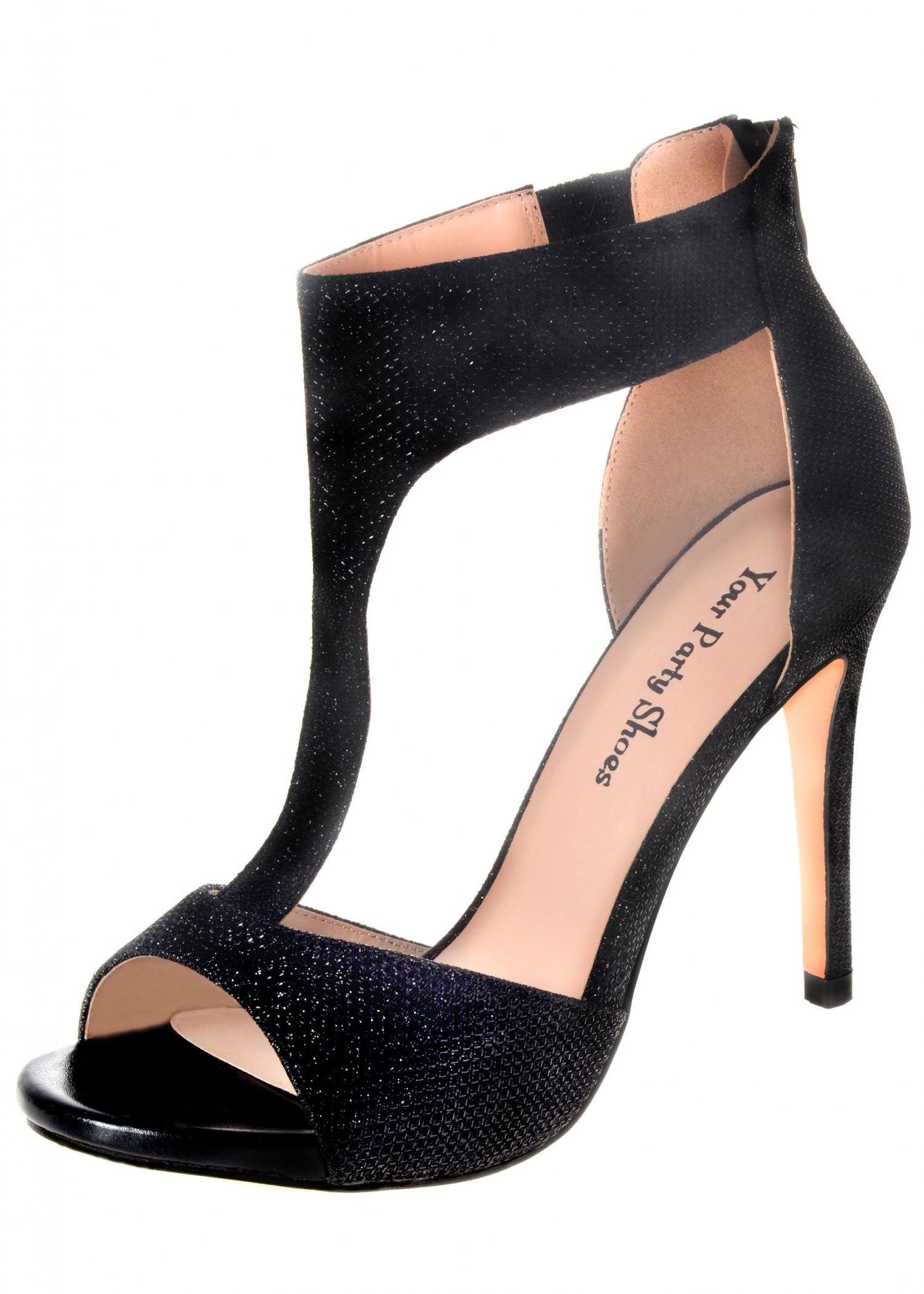 Your Party Shoes Paisley Sexy Black T-Strap Heels
