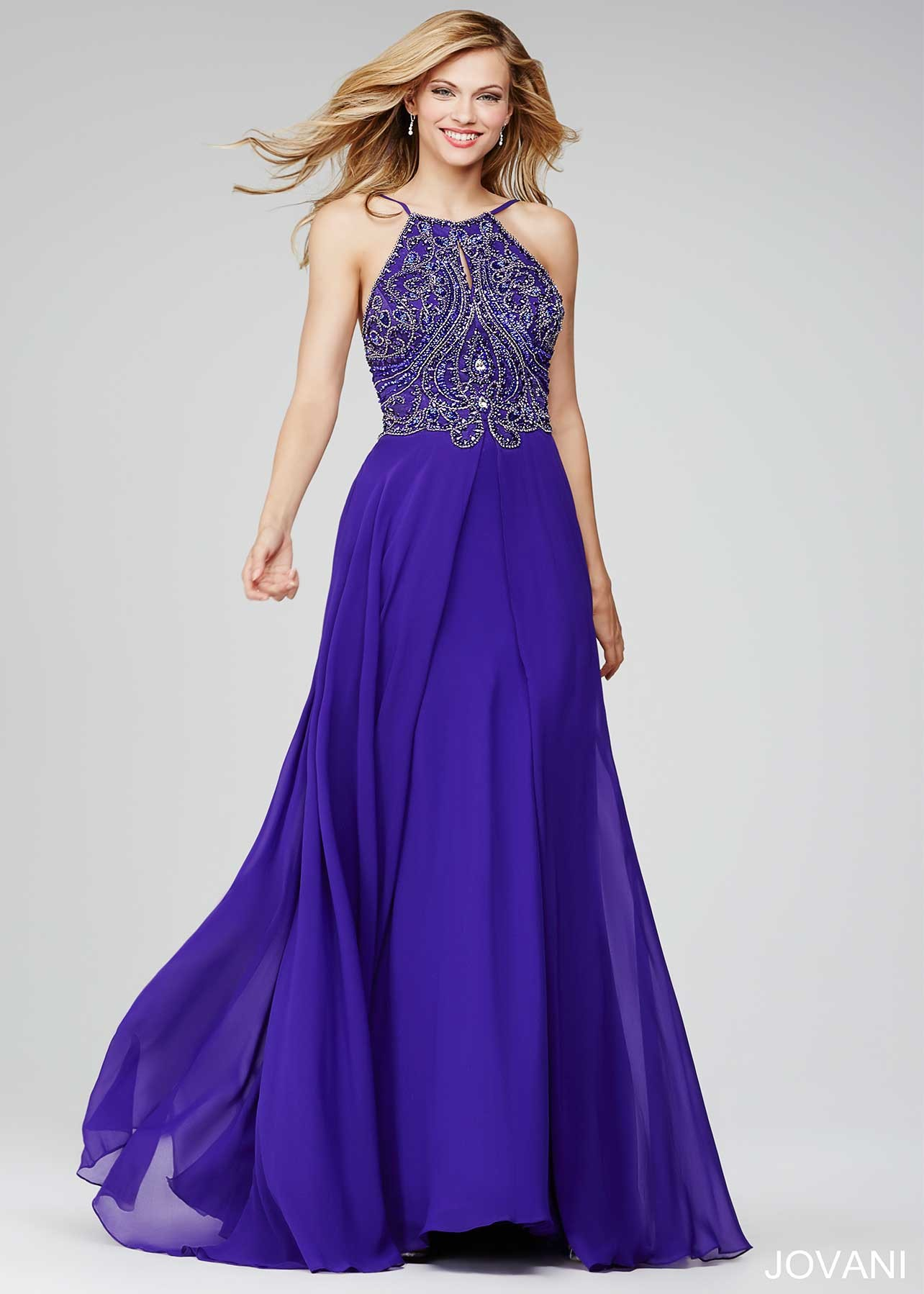 Jovani 92605 Beaded Halter Evening Dress