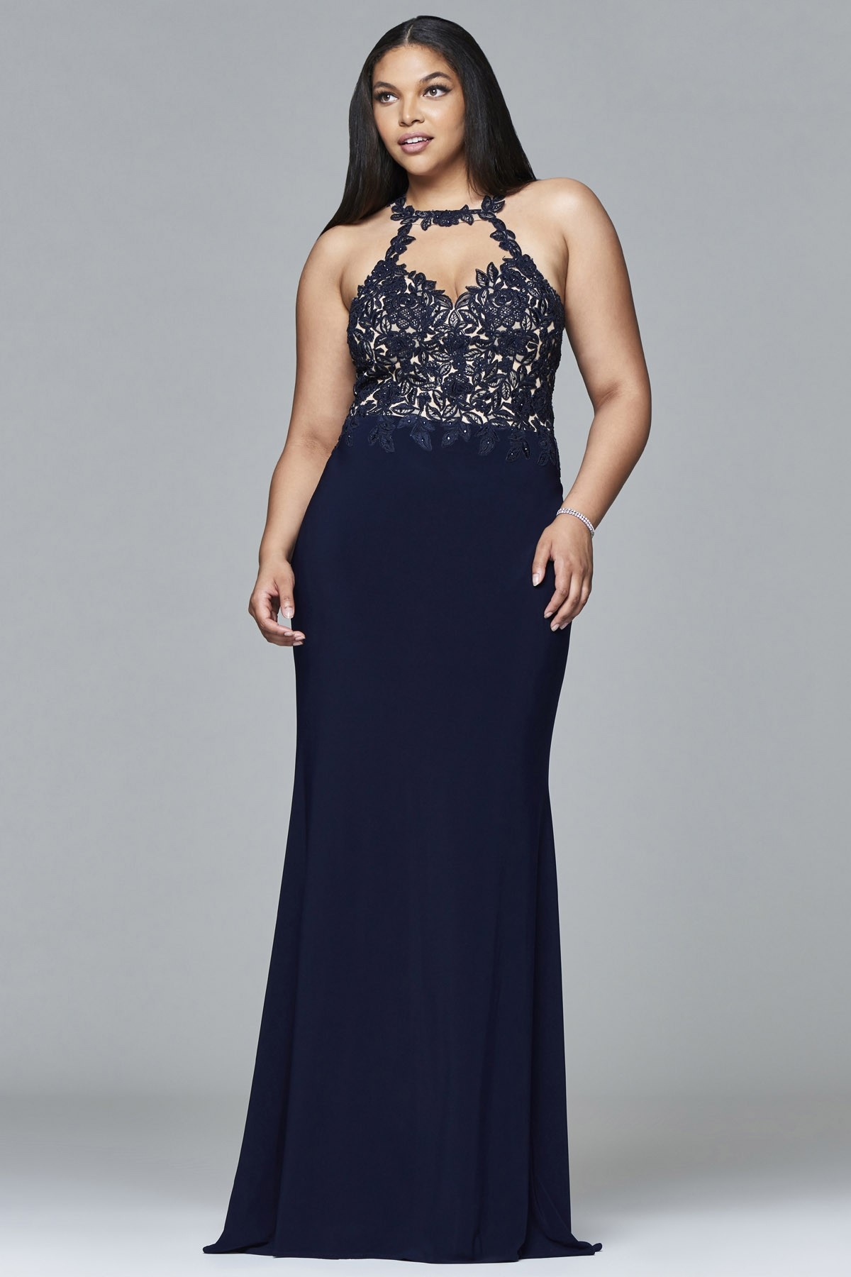 Faviana 9394 Stretch Jersey Long Plus Size Dress