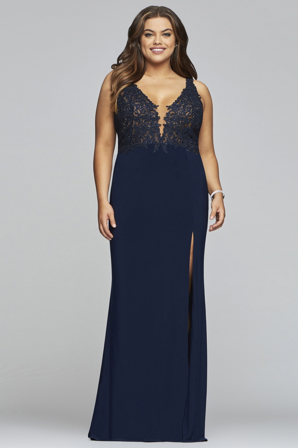Faviana 9463 Romantic Plunge Gown with Slit