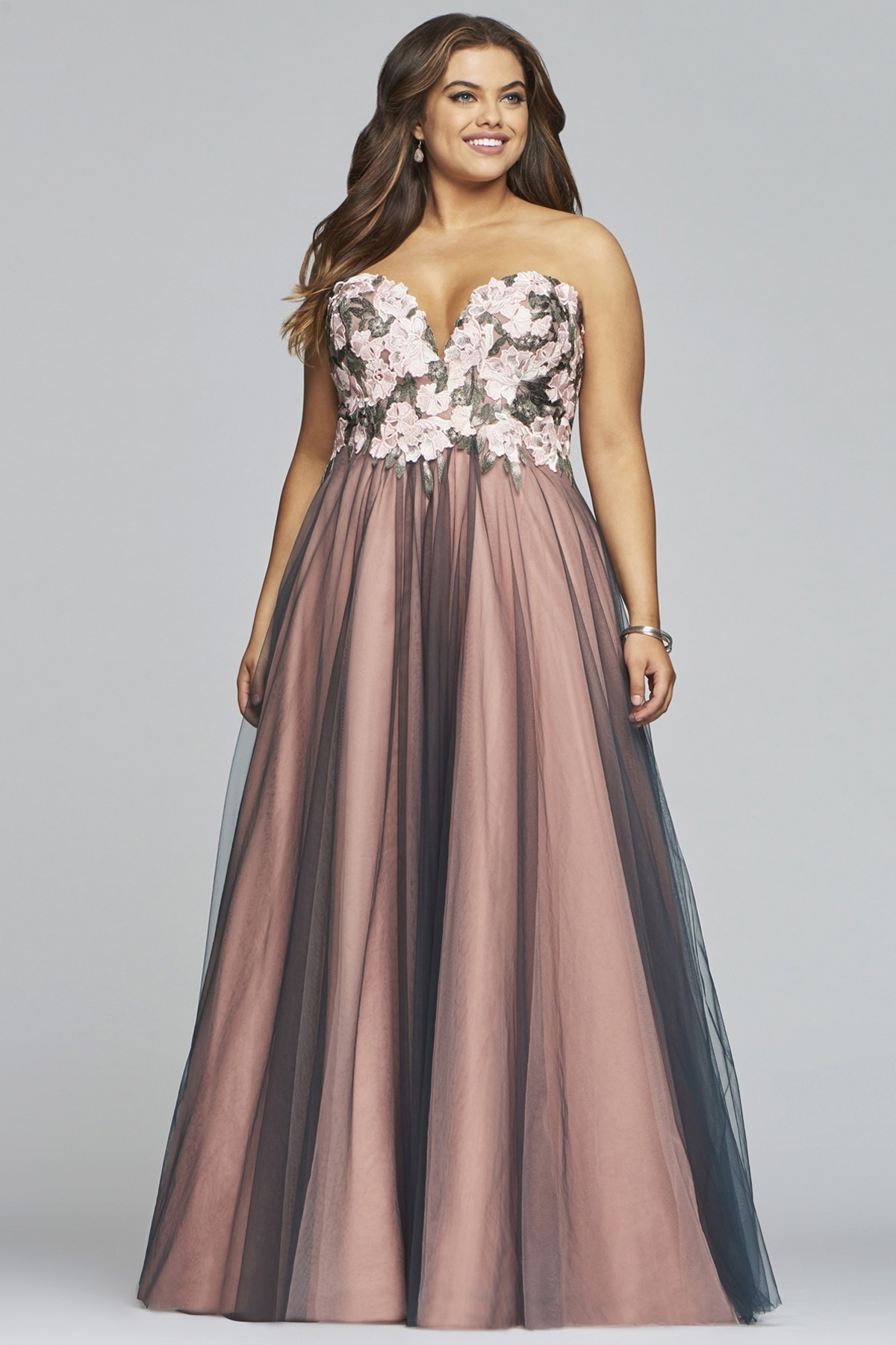 Faviana 9467 Floral Two-Tone A-Line Gown