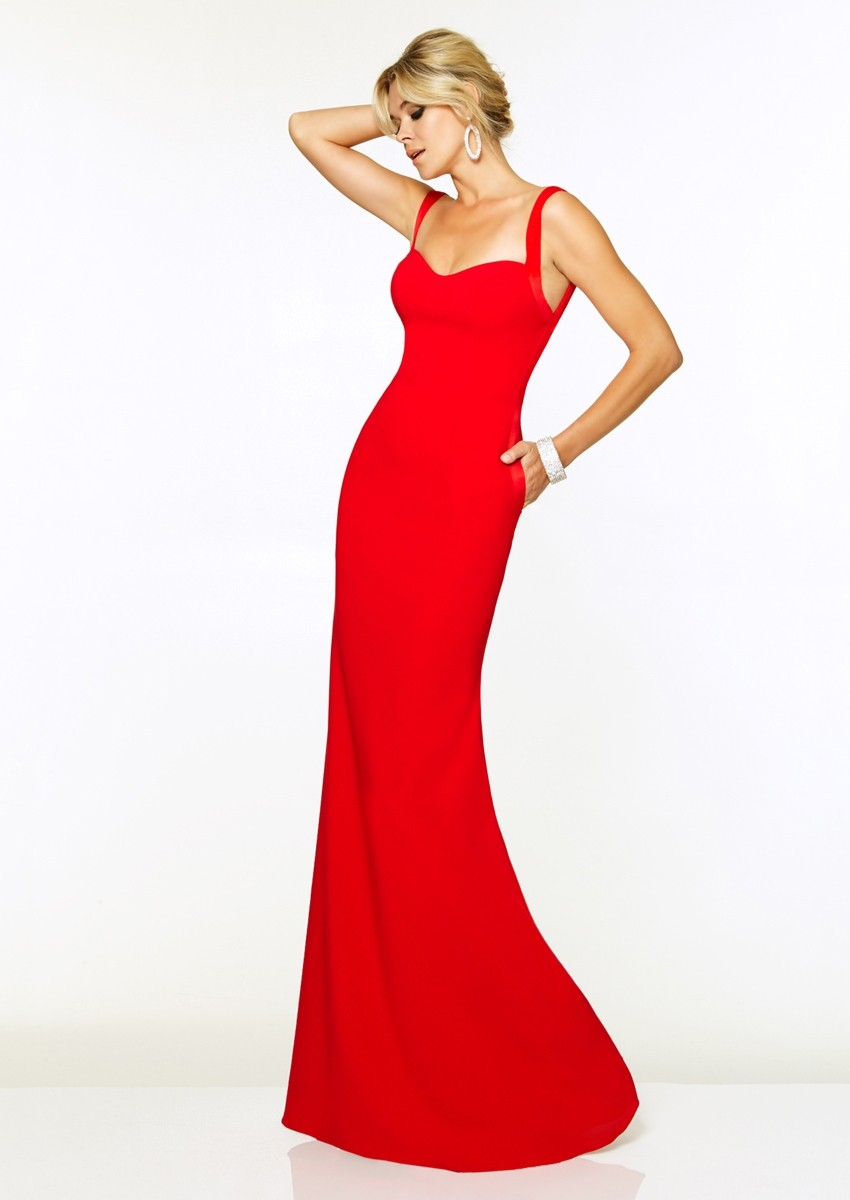Paparazzi by Mori Lee 97099 Fitted Satin Crepe Gown