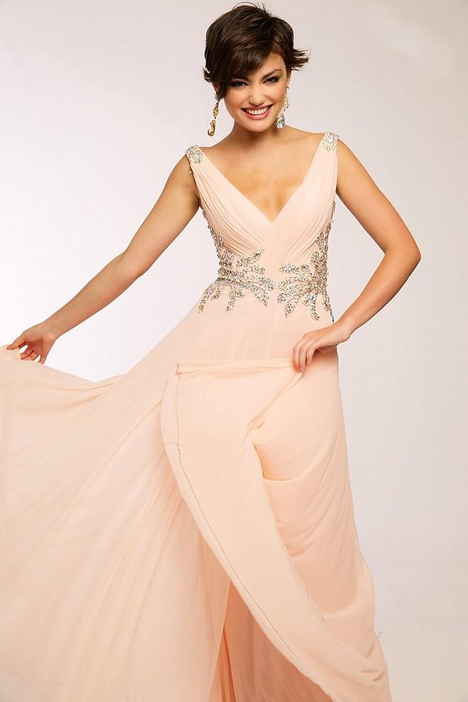 JVN by Jovani JVN99401 Pink Chiffon Gown Size 20
