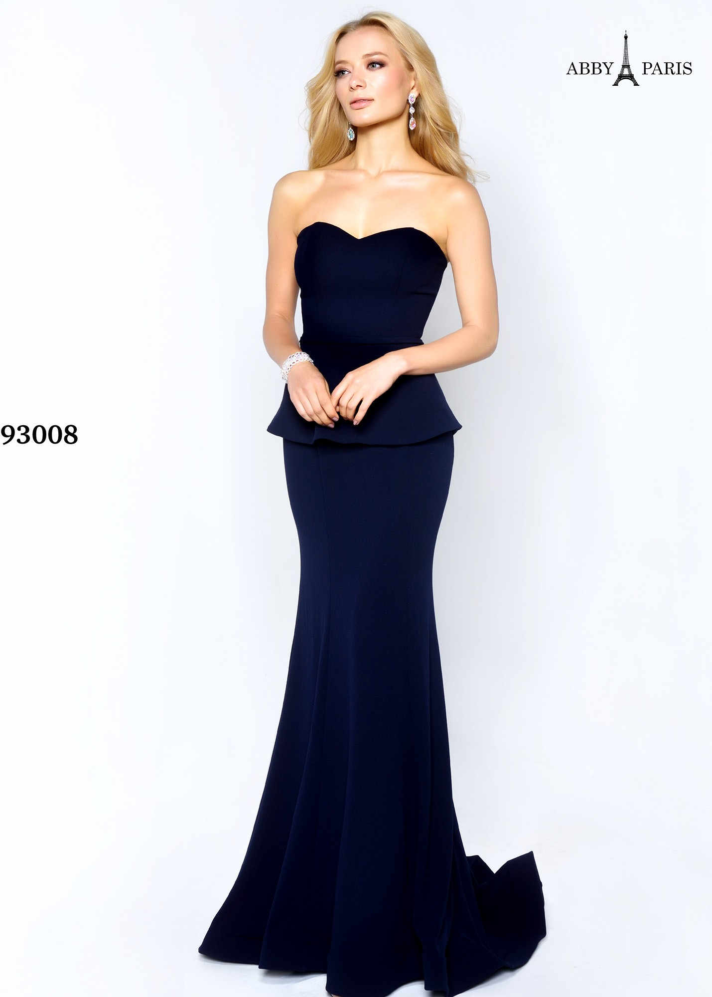 Abby Paris by Lucci Lu 93008 Strapless Peplum Gown