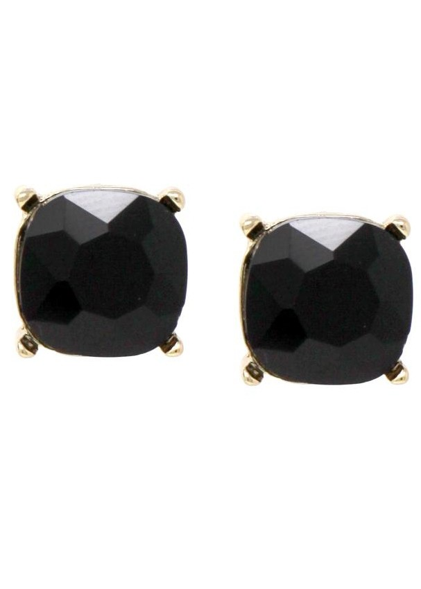 Square Shape Glass Stone Jet/Gold Abalone Stud Earrings