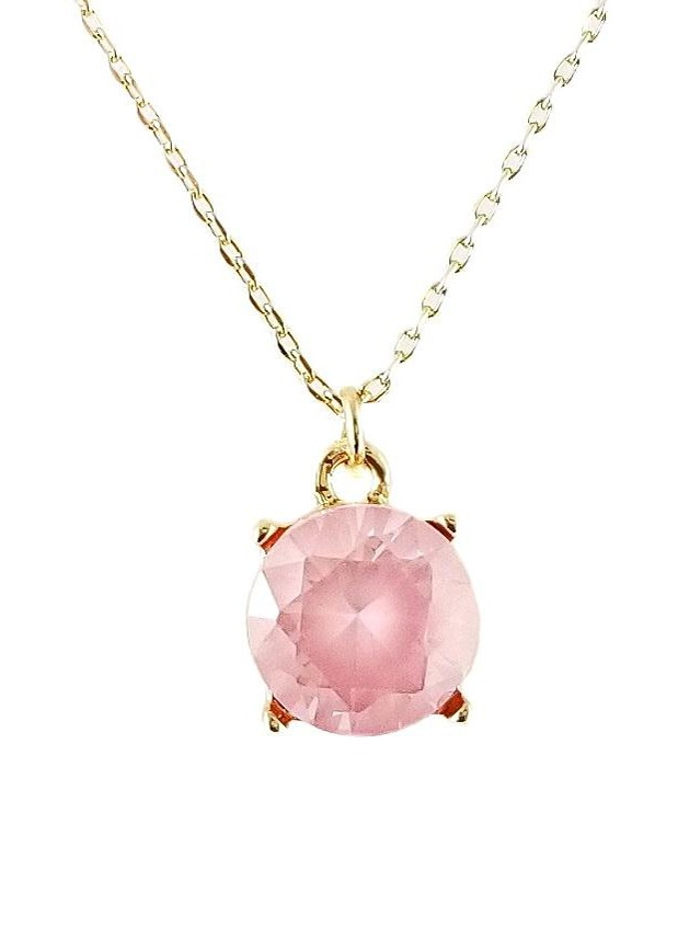 Pink Round Charm Simple Chain Necklace
