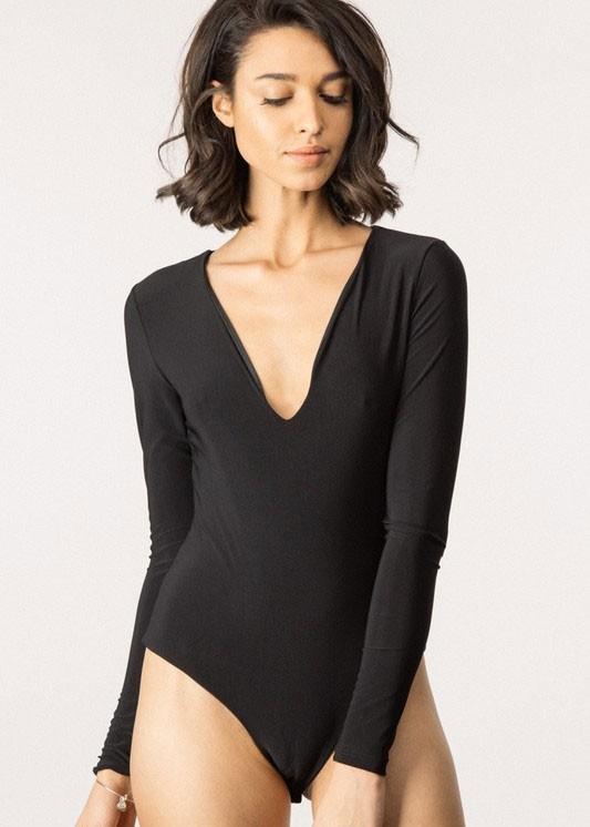 Black Long Sleeve Deep V Plunge Neck Bodysuit