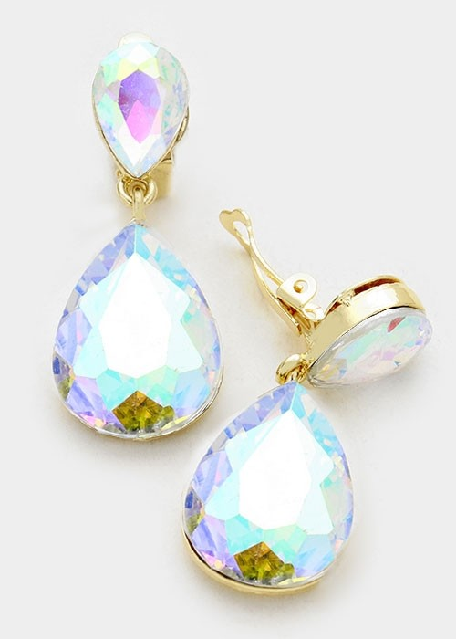 AB Crystal Gold Double Teardrop Clip On Earrings