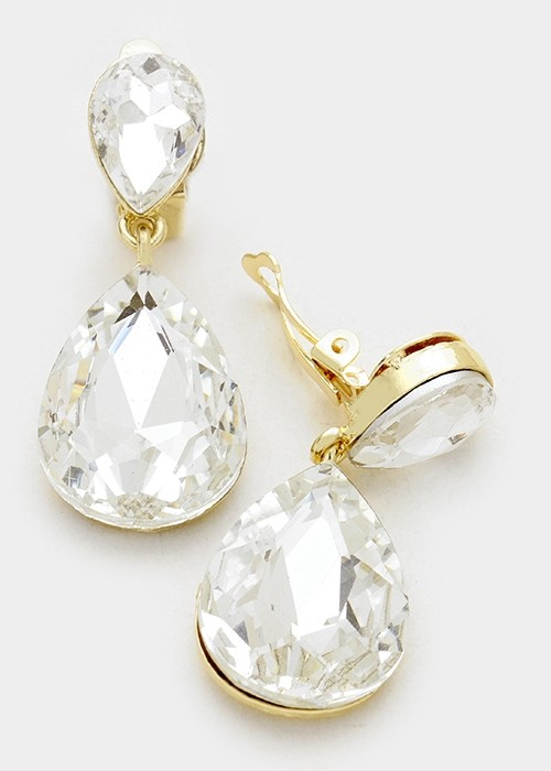 Crystal Double Teardrop Clip On Earrings