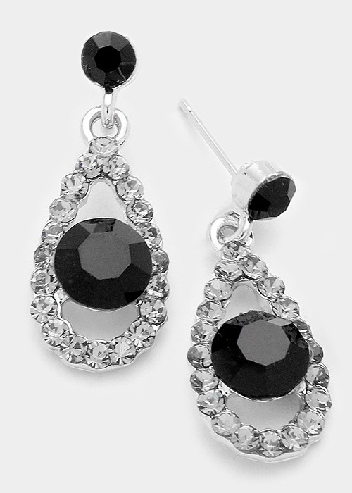 Jet Black Genuine Austrian Crystal Droplet Earrings