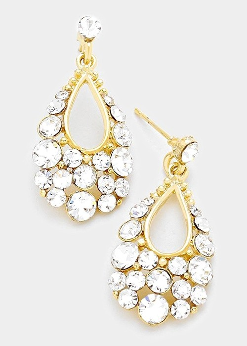 Gold Austrian Crystal Bubble Earrings