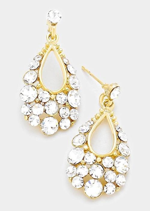 Gold Austrian Crystal Bubble Earrings
