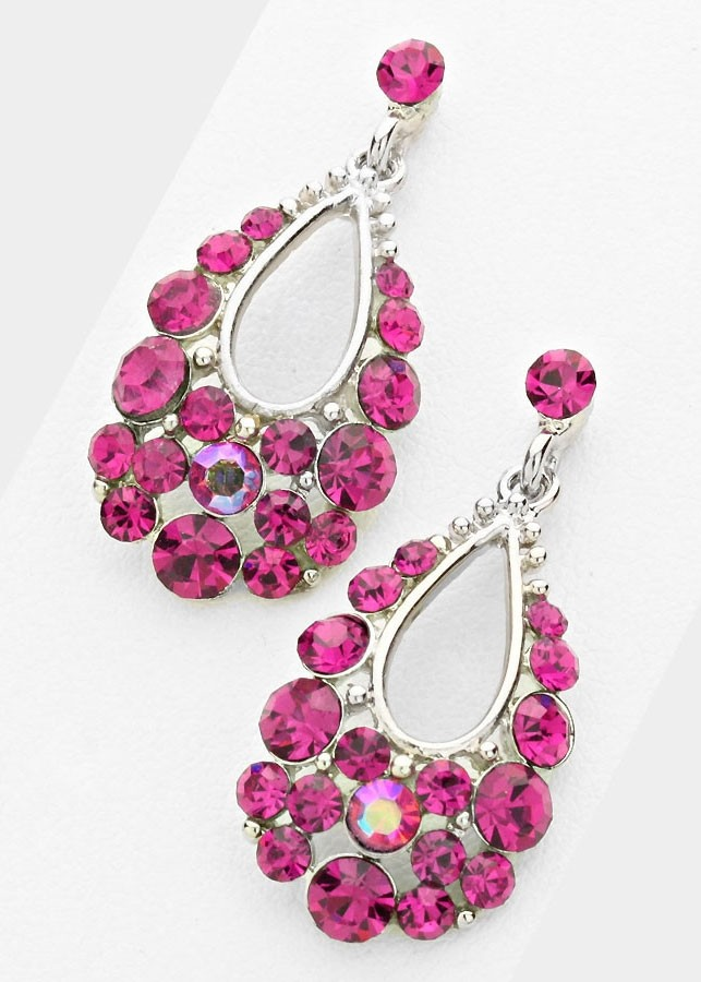 Fuchsia Pink Austrian Crystal Bubble Earrings