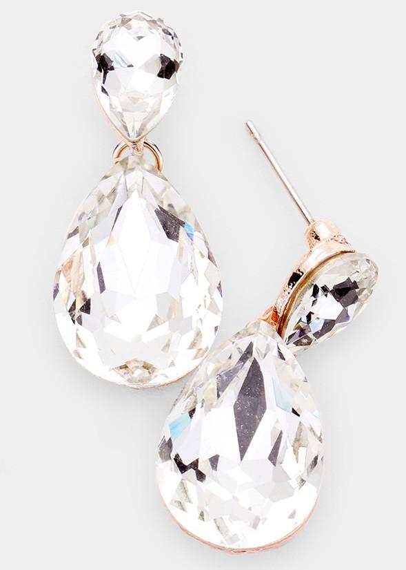 Teardrop Crystal Drop Evening Earrings