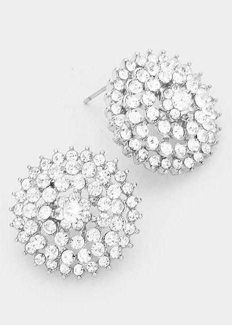 Clear Crystal Bloom Rhinestone Stud Earrings