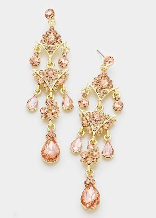 Gold Peach Crystal Rhinestone Triple Teardrop Chandelier Earrings