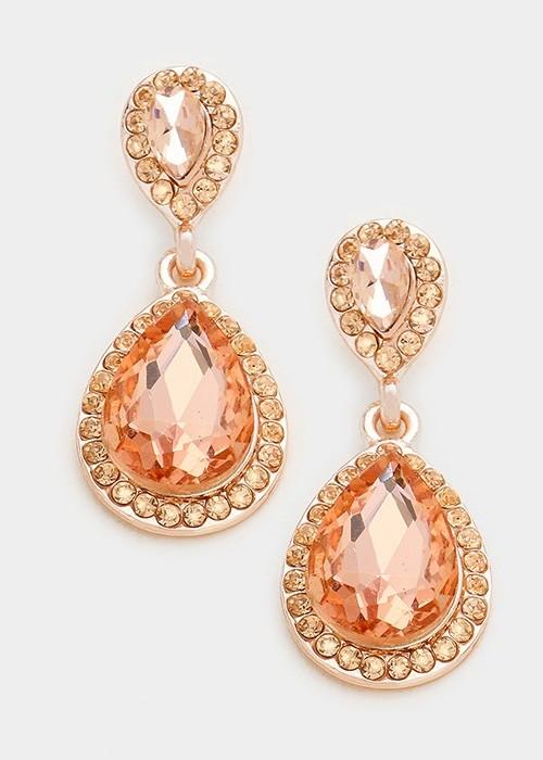 Peach Pave Trim Glass Crystal Teardrop Earrings
