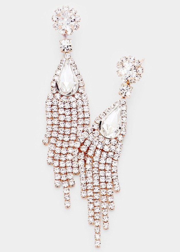 Teardrop Crystal Rhinestone Fringe Evening Earrings