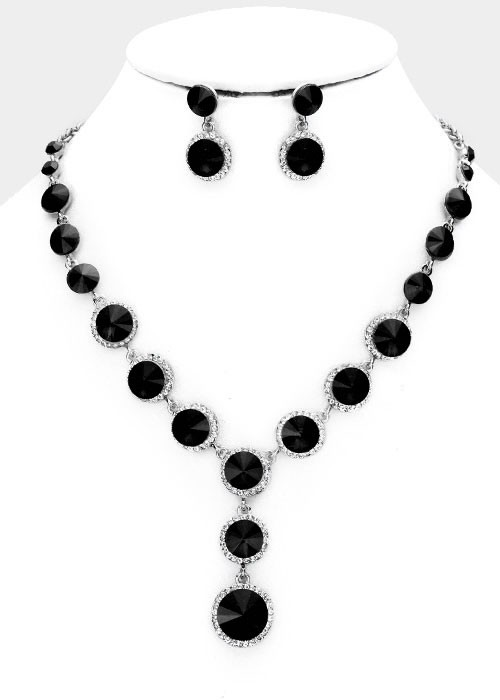 Jet Black Round Crystal Bib Necklace Set