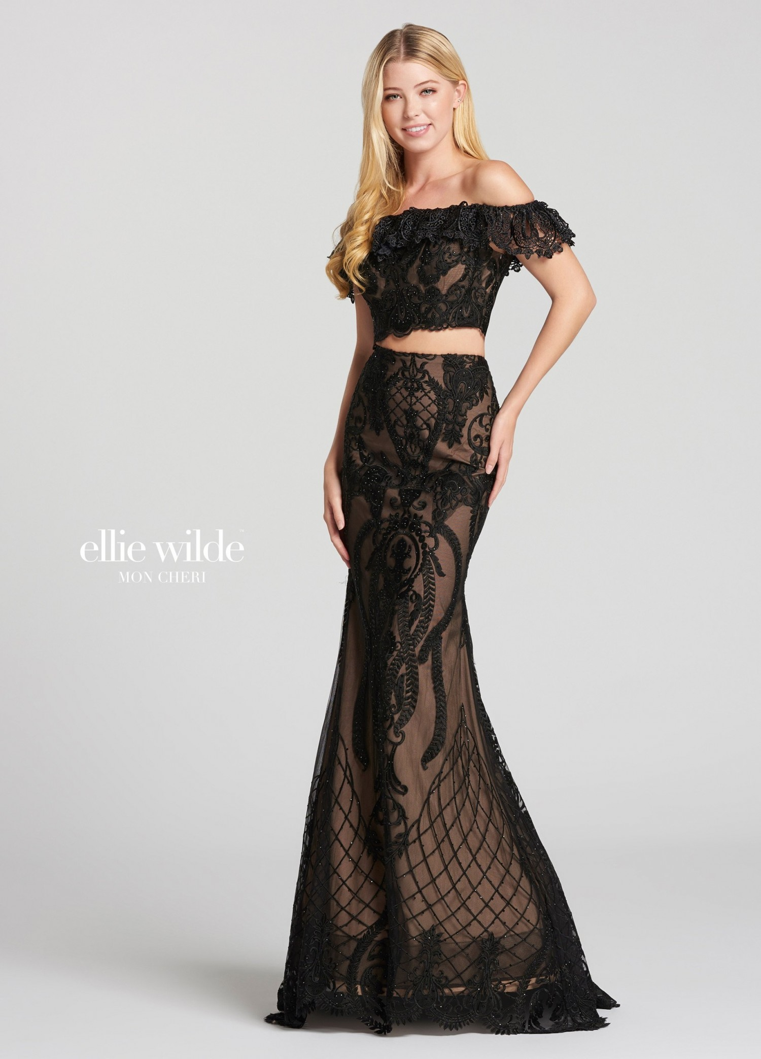 Ellie Wilde EW118156 Delicate Lace Two-Piece Gown