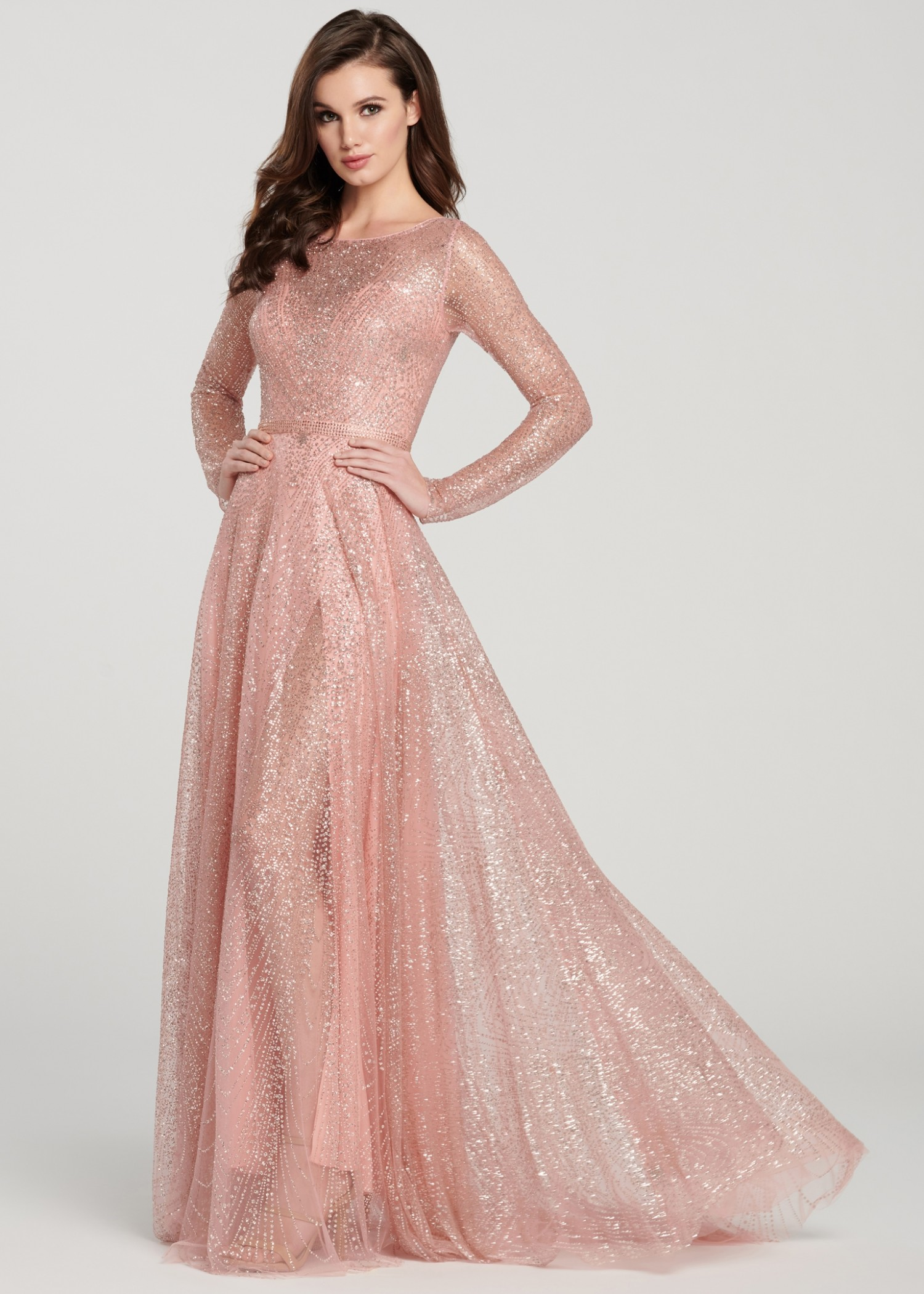 Ellie Wilde EW119003 Sparkling Long Sleeve Gown