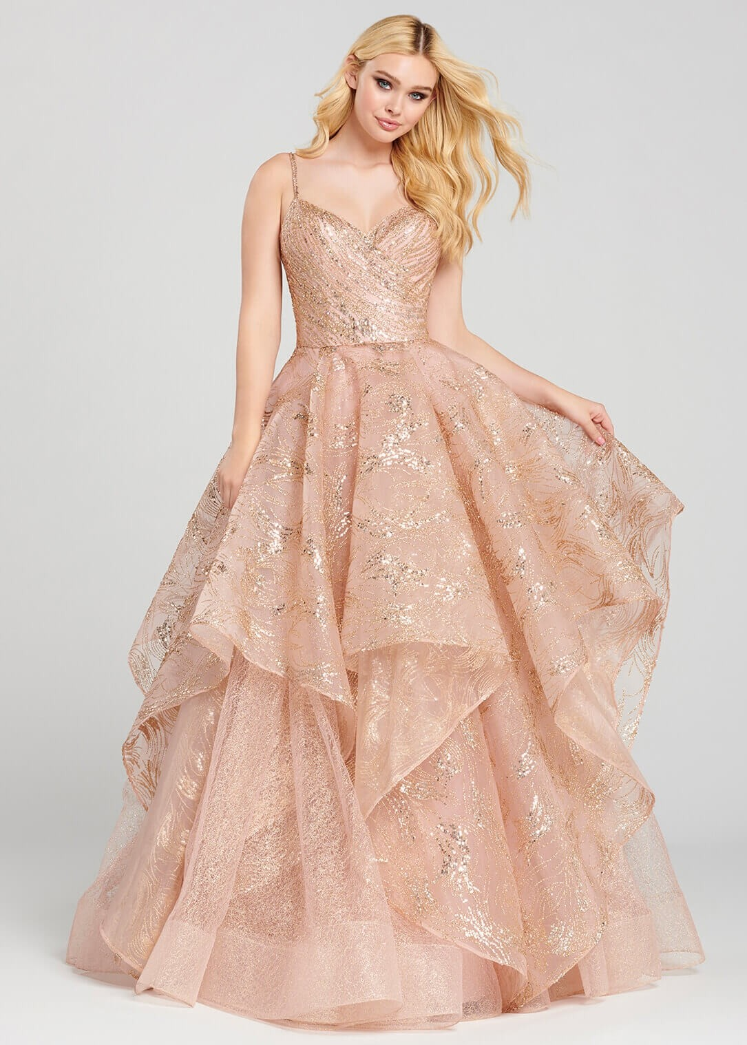Ellie Wilde EW120005 Rose Gold Glitter Ball Gown