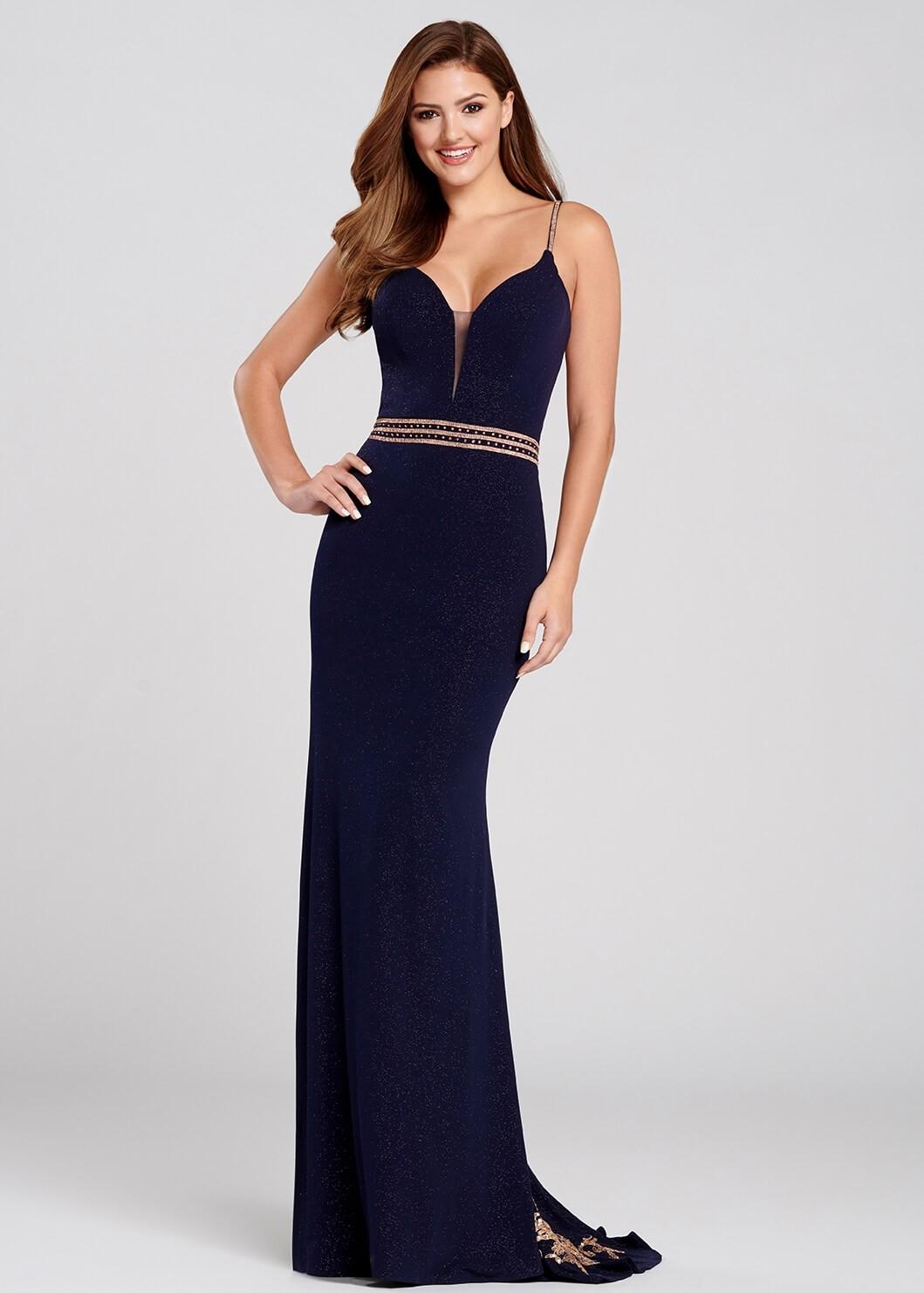 Ellie Wilde EW120103 Navy Gold Shimmer Jersey Gown