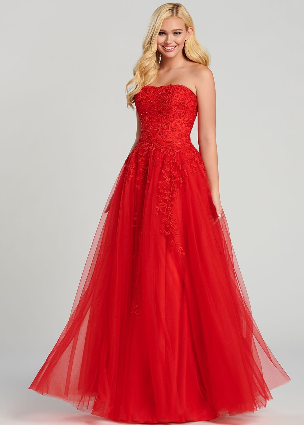 Ellie Wilde EW120116 Strapless Embroidered Tulle Ball Gown