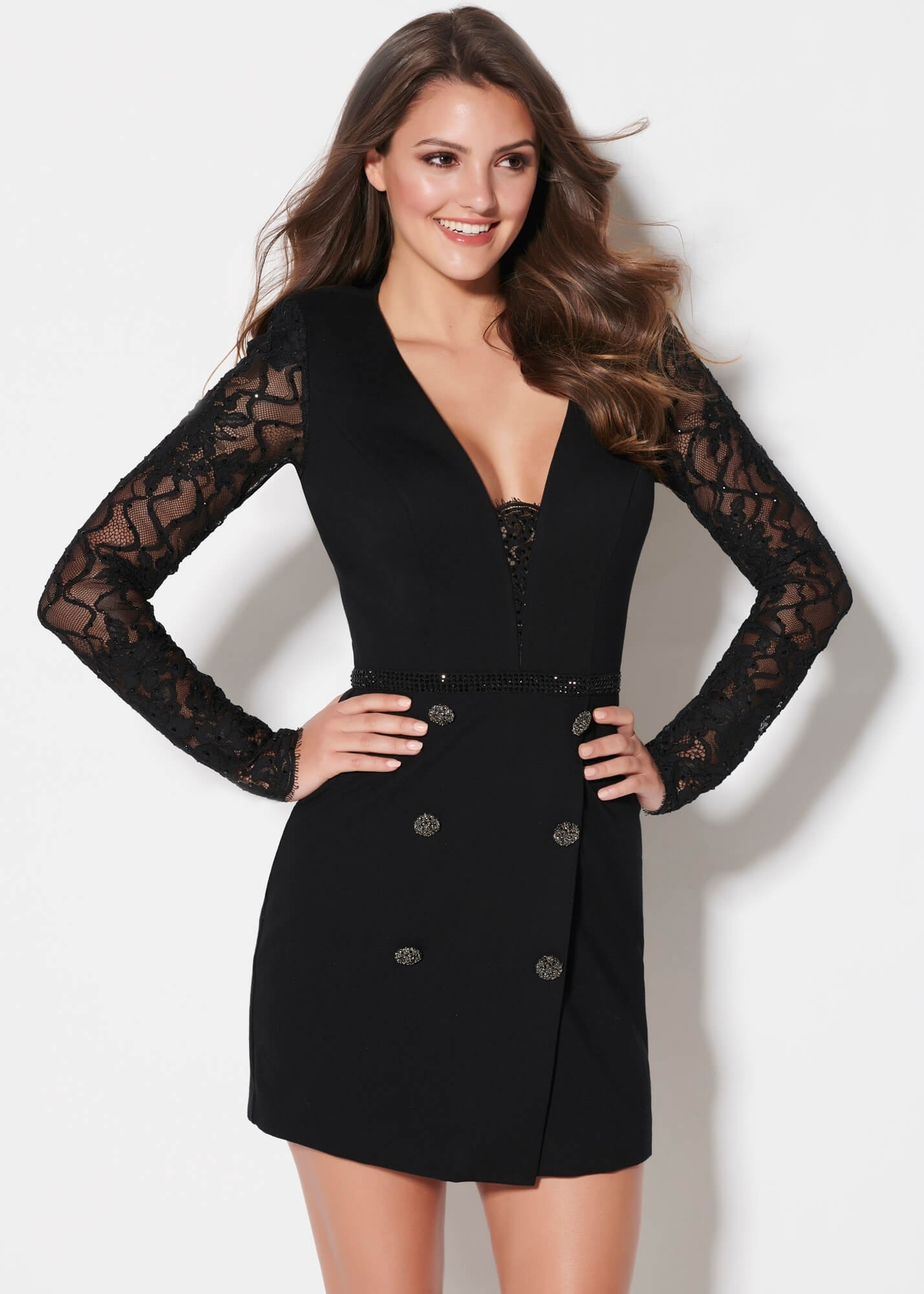 Ellie Wilde EW21926S Tuxedo Style Mini Dress