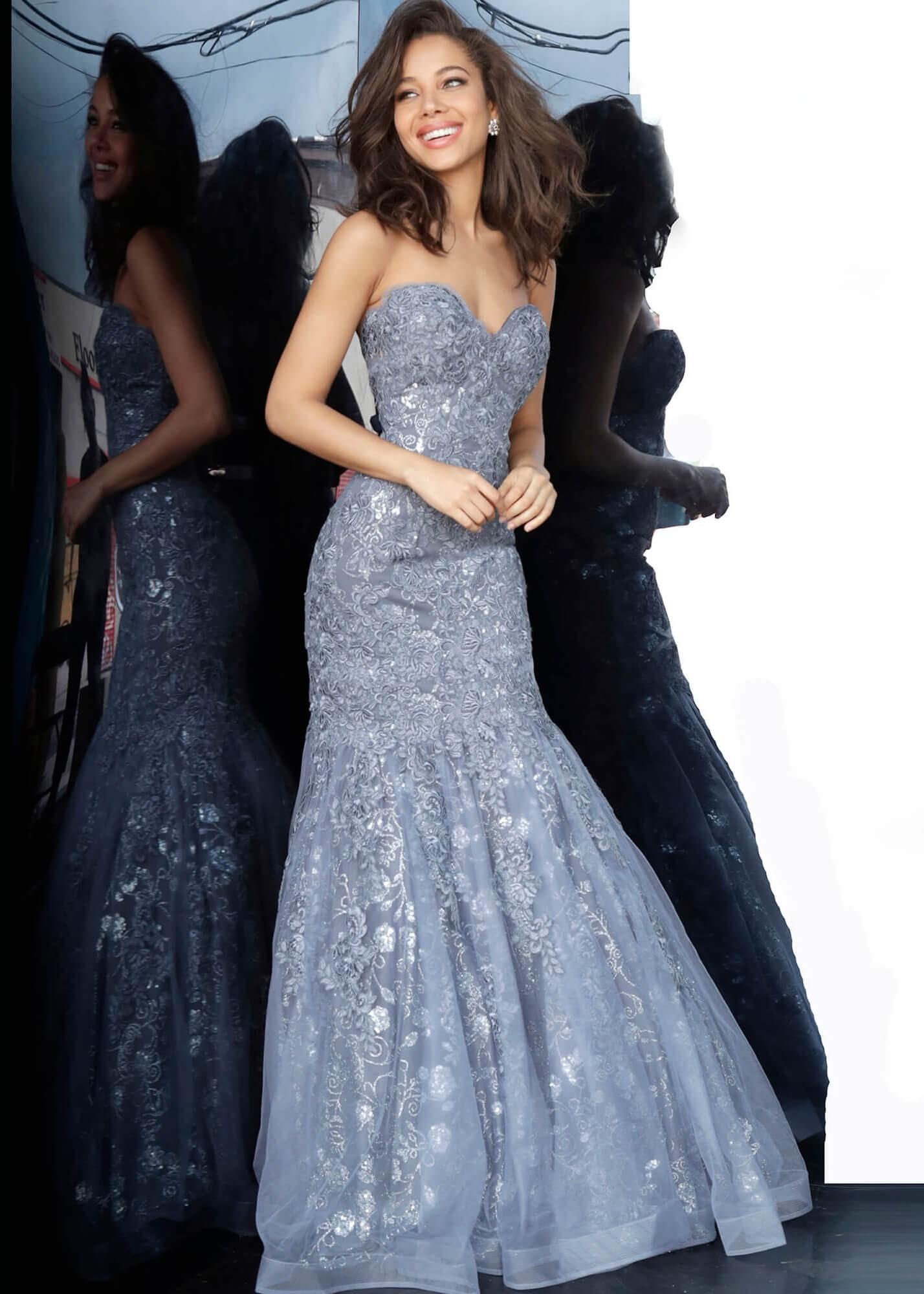 JVN by Jovani JVN00874 Grey Sweetheart Neckline Mermaid Prom Dress