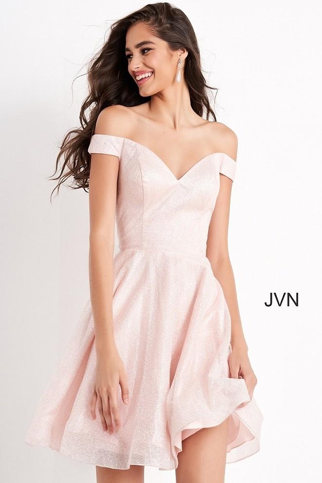 JVN by Jovani JVN04639 Glitter Off the Shoulder Dress