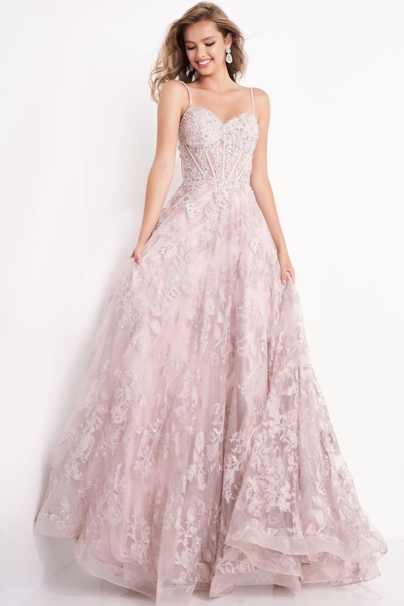 JVN by Jovani JVN06474 Lace Corset Bodice Ball Gown