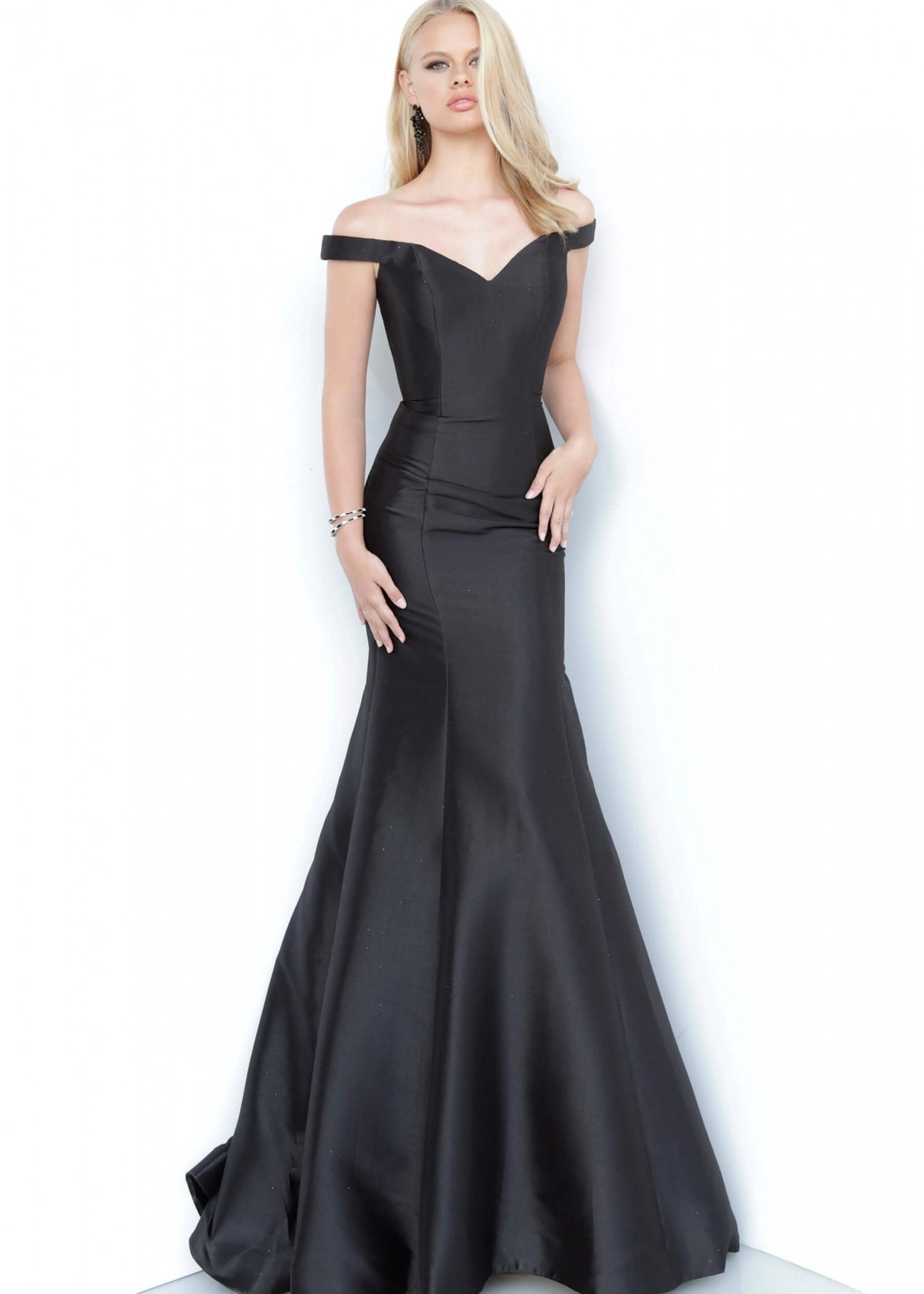 JVN by Jovani JVN3245 Black Off the Shoulder Mermaid Gown