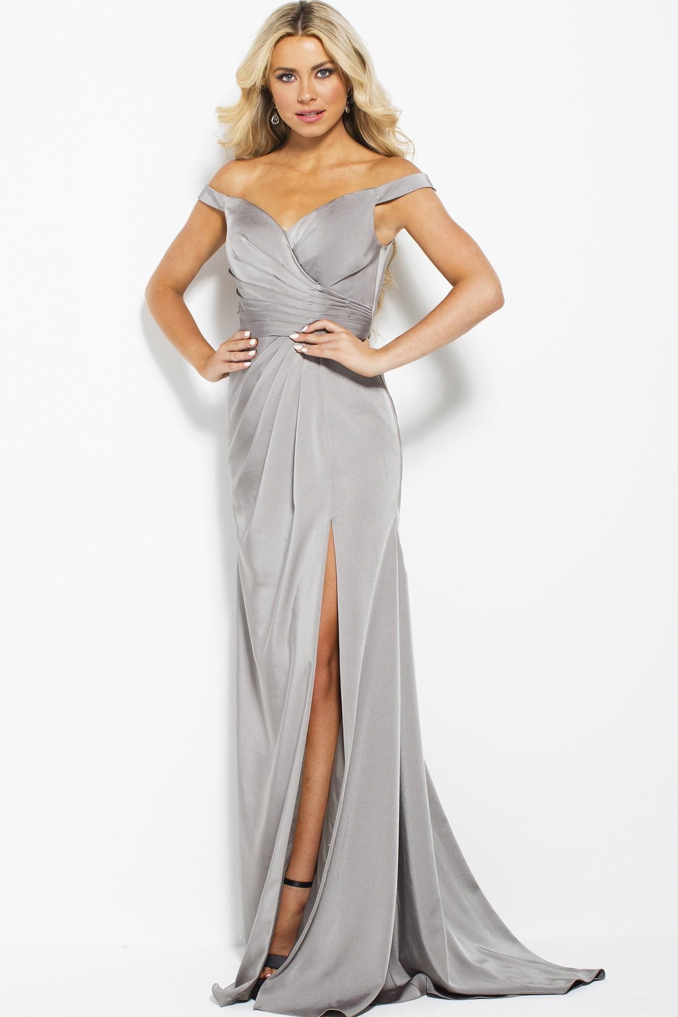 JVN by Jovani JVN50409 Black Off the Shoulder Wrap Gown Size 16