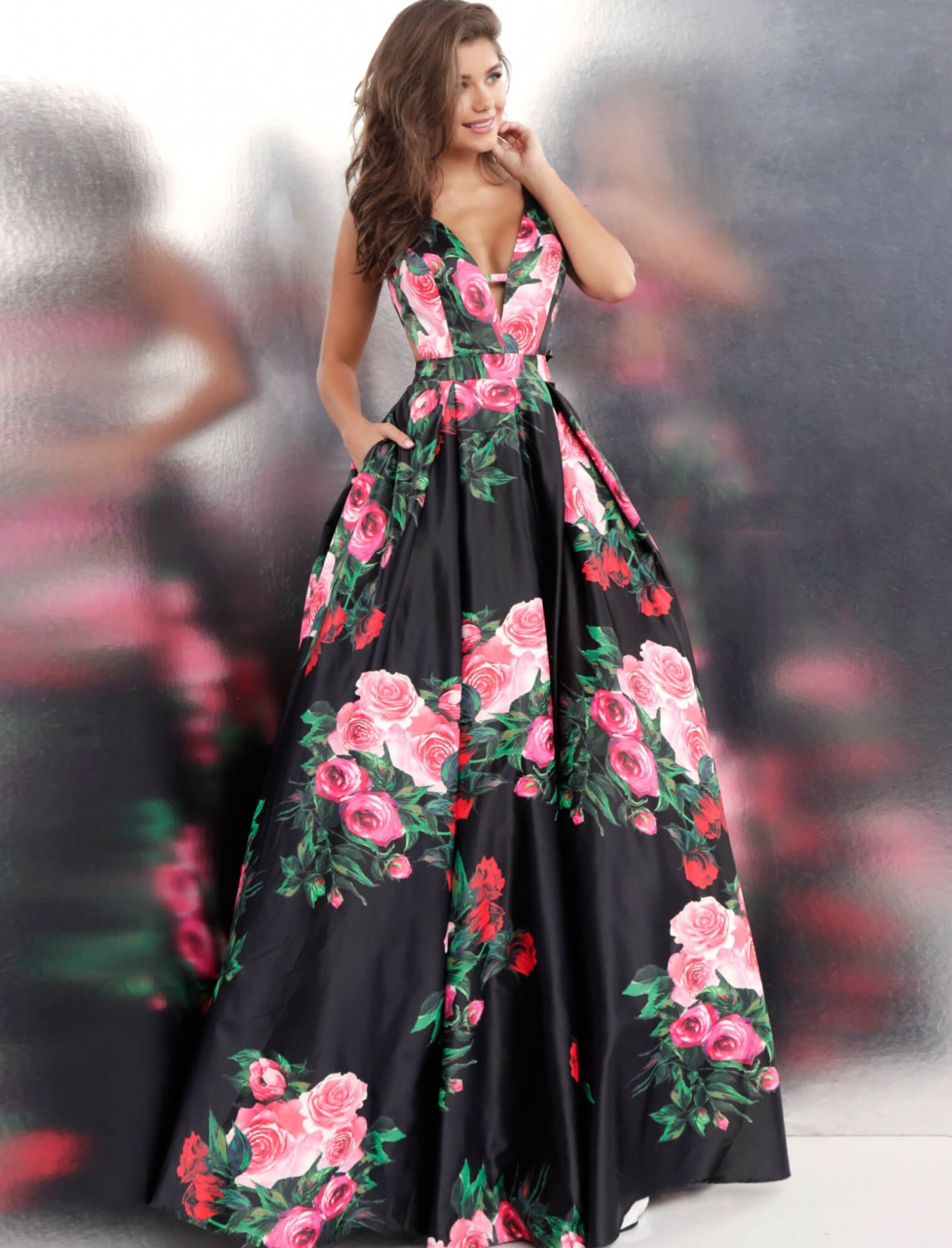 JVN by Jovani JVN59146 V-Neck Floral Ball Gown with Pockets