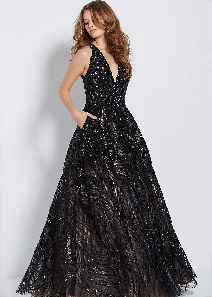 JVN by Jovani JVN60641 Beaded V-neck Ball Gown