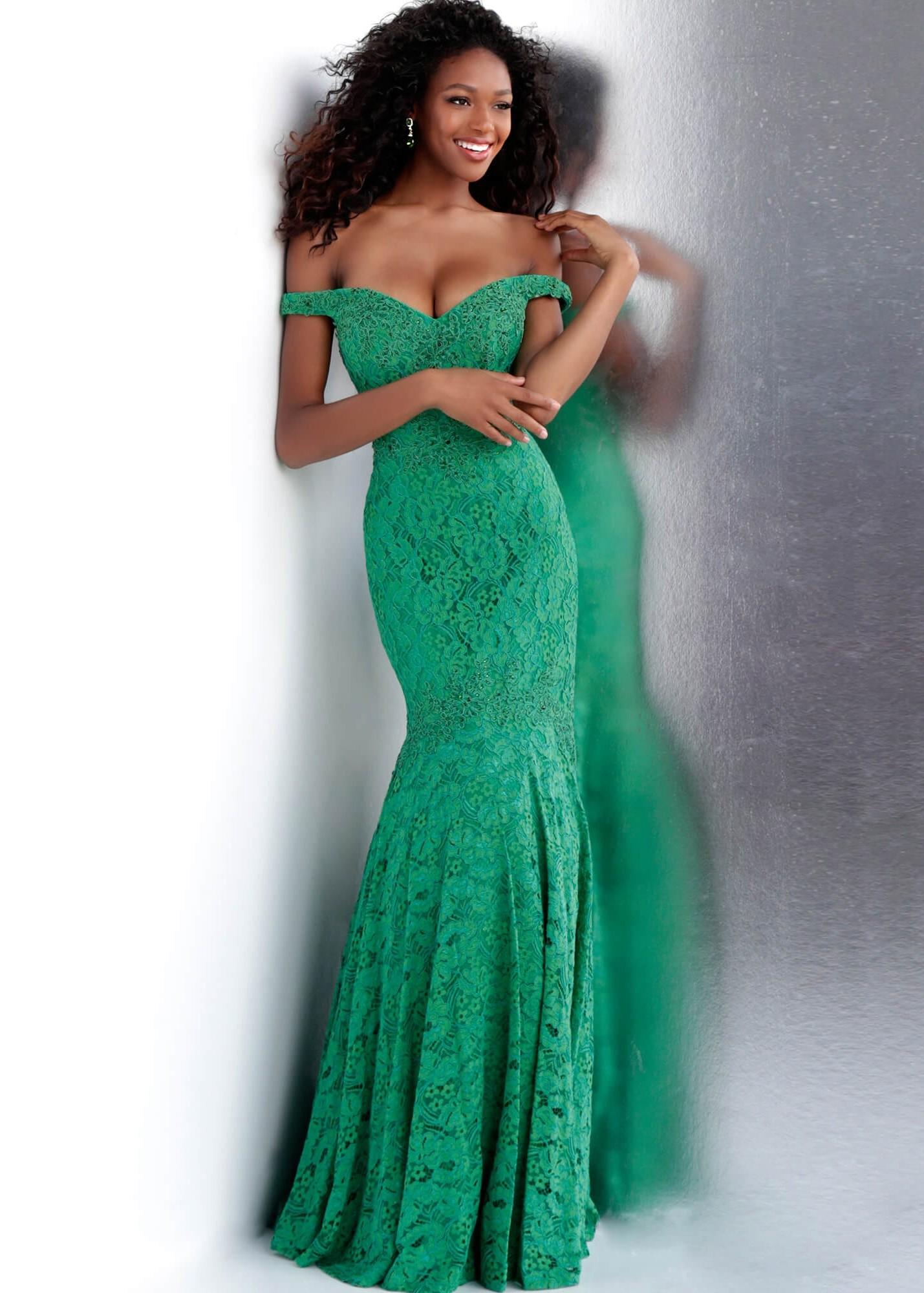 JVN by Jovani JVN62564 Jade Lace Off the Shoulder Gown Size 20
