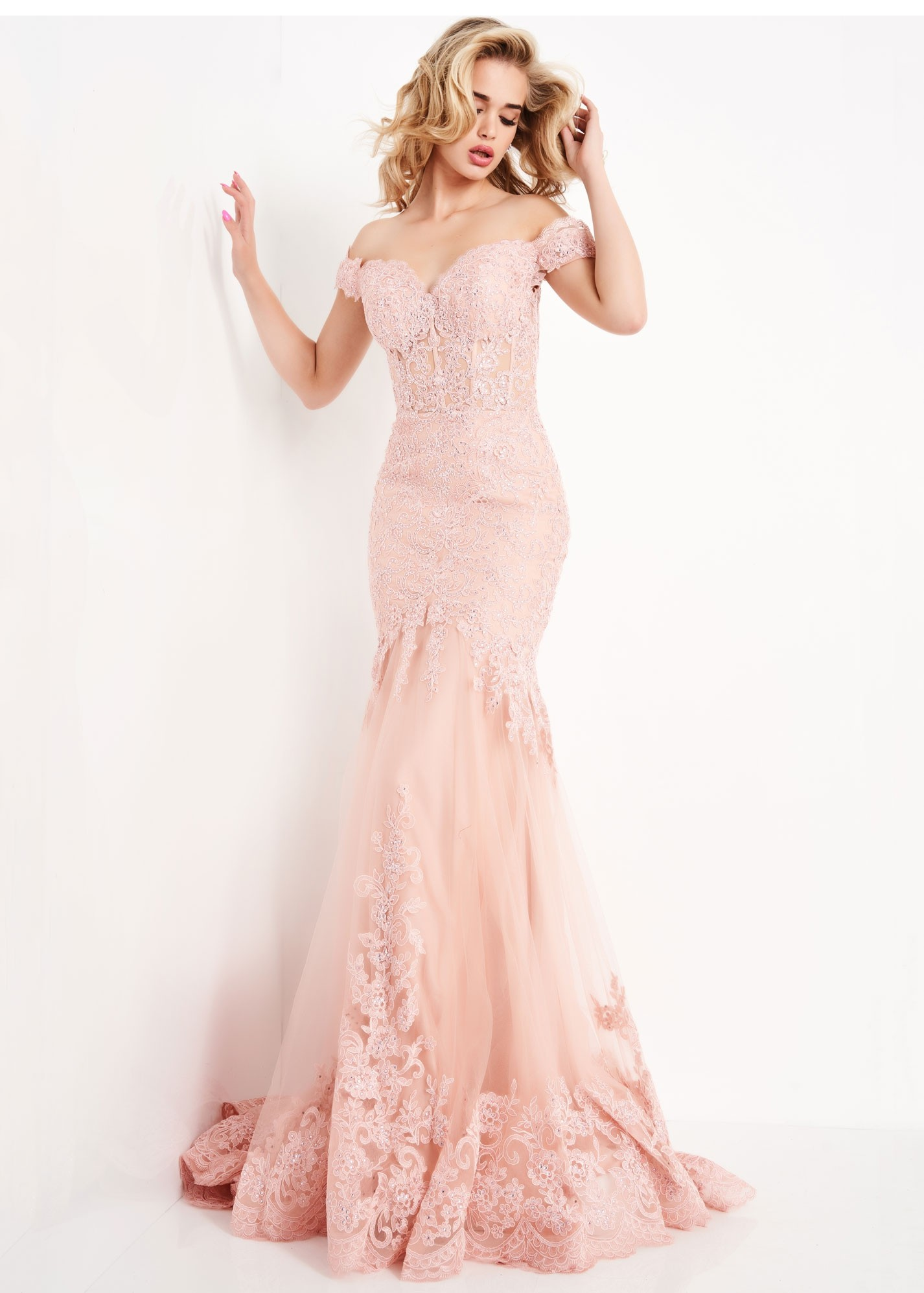 JVN by Jovani JVN65688 Sweetheart Neck Embroidered Lace Dress