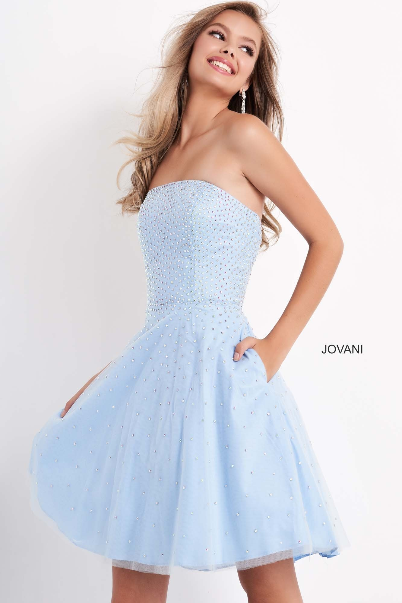 Jovani K68936 Strapless Fit and Flare Beaded Girls Dress
